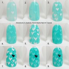 Pinned by www.SimpleNailArtTips.com TUTORIALS: NAIL ART DESIGN IDEAS - #nails #nailart #tutorial #stepbystep #hearts #jellysandwich  PondHeartsTutorialCollage.jpg