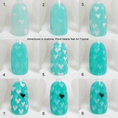 Pinned by www.SimpleNailArtTips.com TUTORIALS: NAIL ART DESIGN IDEAS - #nails #nailart #tutorial #stepbystep #hearts #jellysandwich  PondHeartsTutorialCollage.jpg