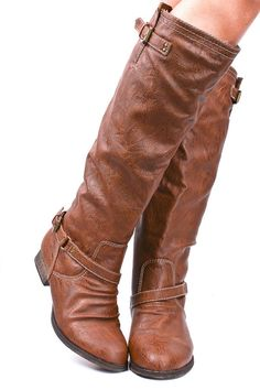 Faux Leather Buckle Boot