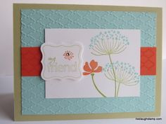 This was my third card we made at club this past month. Very clean and simple. And I love the color combo!! (And it doesn't even have pink in it! :-) Crumb Cake is usually my go-to-neutral-color, but since River Rock is retiring at the en