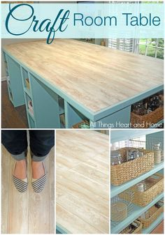 DIY Craft Room Table w/ Laminate Floor as a table top! Come see my oversize DIY Craft Room Table with a Laminate Wood Top! The size is perfect for large projects and there's plenty of room for storage! Craft Tables With Storage, Craft Room Tables, Craft Room Storage, Craft Rooms, Storage Ideas, Craft Organization, Paint Storage, Craft Room Decor, Scrapbook Organization