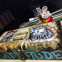 "Vintage rat rod tool box ""Rat-i-tude"" custom art by Toastedboardz"