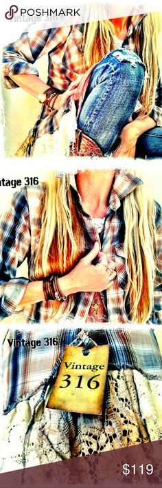 Altered•Upcycled Plaid with Antique Lace Lightweight Cotton Plaid with Pearl Snaps and Frayed Lace. Mix of Blues, Browns & Creams are easy to layer and pair well with Jeans! Vintage 316 Tops Button Down Shirts