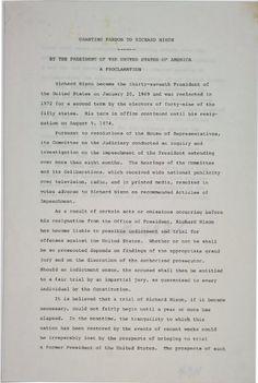 8 de septiembre de 1974: El perdón de Gerald Ford a Richard Nixon.  http://www.gilderlehrman.org/collections/49a04d02-c144-437d-8ed5-484952456450
