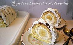 Retete Culinare - Rulada cu crema de vanilie si banane