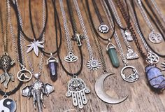 Boho Grunge Spiritual Hippie Hamsa Hand Sun Moon Crystal by VYYBES
