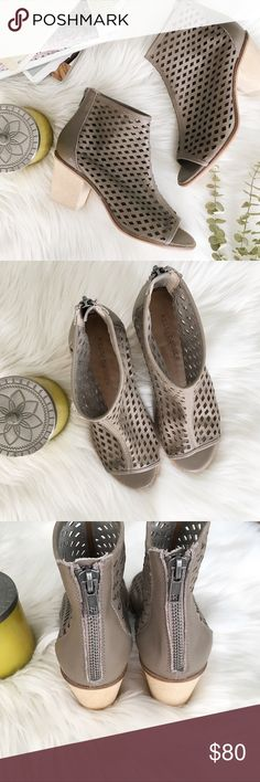 """{kelsi dagger} nwot kyoto booties ✨Kelsi Dagger Kyoto perforated booties. Versatile and perfect for fall transition ✨  ➳ NWOT no box- unworn but do have a few minor scuffs/scratches/wrinkling around the heel area ➳ leather upper, synthetic lining/sole, block heel, peep toe, back zip closure 2.75"""" heel ➳ note last photo is of the same style shoe but in a different color and version, shown ONLY to give an idea of fit/look ☞ size 6 - some reviews state these run a half size large- I'm usually a…"""