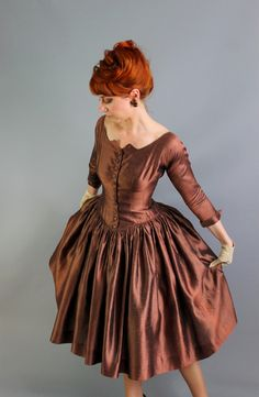 1950s Chocolate Brown Silk Party Dress. Formal. by gogovintage, $135.00