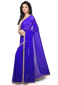 Buy Plain Georgette Saree in Royal Blue online, work: Printed, color: Royal Blue, usage: Casual, category: Sarees, fabric: Georgette, price: $81.56, item code: SQR146, gender: women, brand: Utsav