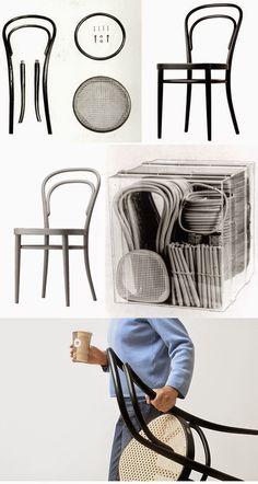 Anders 2015: 2. Toegepaste kunst steeds weer anders, Thonet experimenteerde rond 1900 met nieuwe productietechnieken en maakte een stoel m.b.v. mallen. De stoel werd teruggebracht tot 8 houten onderdelen,10 schroeven en 2 leertjes. Revolutionair: industrieel vervaardigd en hoge oplage mogelijk! De stoel werd verkocht in een platte doos, was goedkoper en makkelijker te tillen.
