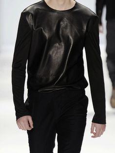 black // leather // fashion // show // runway // model // male // boy