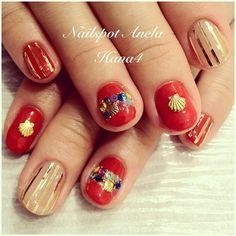 This is popular of my nail catalog!! Kirakira #Red nail of a...