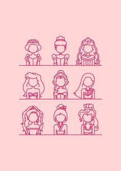 * D i s n e y * Princesses Canvas Print by Sofia Ayuso | Society6
