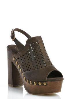 Cato Fashions Perforated Platform Heeled Sandals #CatoFashions