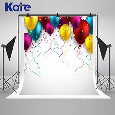 Colorful Balloons Ribbon Photography Backdrops White Photo