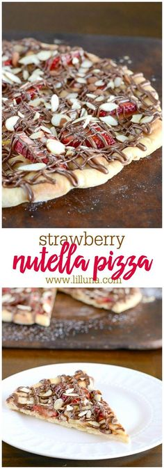 DELICIOUS Sweet Pizza recipe - topped with Strawberries, Nutella, Bananas and Almonds. Such a simple and tasty dessert recipe!