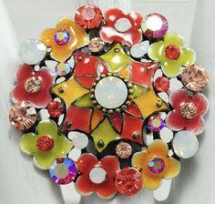 Colorful Flower Ring/Milky Aurora Borealis/Multicolor Rhinestone/Orange/Green/Yellow/Spring/Summer Jewelry/Adjustable/Under 20 USD