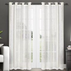 Add a splash of contemporary elegance to any room with the Exclusive Home Curtains Penny Sheer Embellished Stripe Grommet Top Curtain Panels. These beautifully crafted curtains allow natural light to White Sheer Curtains, Sheer Curtain Panels, Window Panels, Curtain Rods, Home Curtains, Grommet Curtains, Window Curtains, Farmhouse Curtains, Rustic Curtains