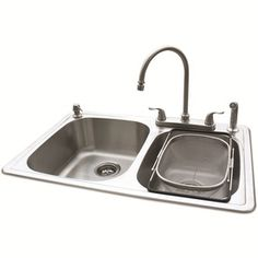 American Standard�20-Gauge Double Basin Drop-In Stainless Steel Kitchen Sink with Faucet