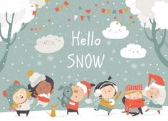 Cartoon happy children enjoying winter hello snow vector image on VectorStock Hello Winter, Winter Kids, Happy Penguin, Snow Vector, Kids Reading Books, New Year Art, Funny Monsters, Cute Lion, Cute Frames