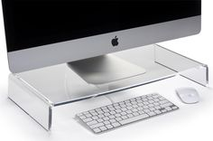 """Workshop Series Acrylic Monitor Riser, 10mm Thick, 3"""" Height – Clear  ---- 22.5"""" x 2.8"""" x 11.0"""""""