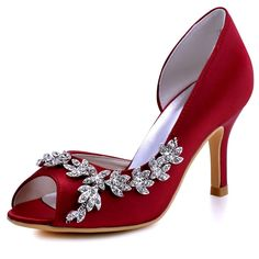 Amazon.com | ElegantPark Women Peep Toe Beading High Heel Satin Wedding  Bridal Dress Shoes