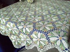 Cream crochet tablecloth Lace table topper Hand-painted by OlLace