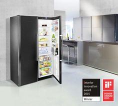 "Liebherr refrigerator in BlackSteel design wins ""Interior Innovation Award Built In Refrigerator, Kitchen Refrigerator, Innovation, White Appliances, Kitchen Appliances, Kitchens, Wine Storage Cabinets, Commercial Appliances, Domestic Appliances"