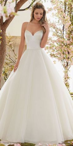 Beautiful Duchess Satin and Tulle Ball Gown Wedding Dress #satinweddingdresses