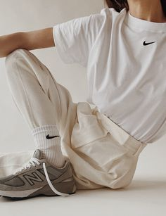 Nike - Pixie Market - New Balance Beige Outfit, Pastel Outfit, Nike Outfits, Summer Outfits, Fashion Outfits, Fitness Outfits, Clothing Photography, Fashion Photography, Design Nike
