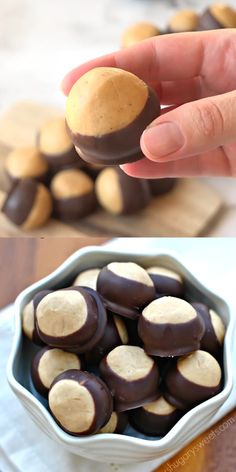 Peanut Butter Buckeyes , Classic candy from Ohio. Soft peanut butter filling dipped in chocolate! Be sure to make a batch for you next party! Frosting Recipes, Cupcake Recipes, Baking Recipes, Cookie Recipes, Dessert Recipes, Sweets Recipe, Baking Desserts, Baking Cupcakes, Baking Ideas