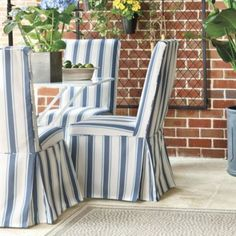 Parsons Sunbrella® Slipcovers in SAND   Ballard Designs  Can I have three sons AND slipcovered dining chairs???