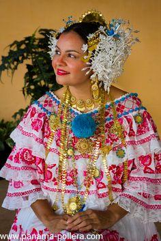 Typical Panamanian Folklore Dress, pollera-panamena