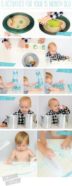 5 activities for your busy 15 month old Like the painting with different brushes idea