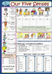 English teaching worksheets: The five senses