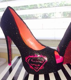 Black with Pink sole choose BATMAN SUPERMAN high by CrystalCleatss