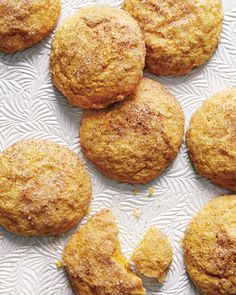Pumpkin Snickerdoodles | Martha Stewart Living - Pumpkin puree makes the classic cinnamon sugar cookies moist, cakey, and even more irresistible. Serve with glasses of cold milk.