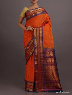 Ashalata Ornage Broad Border #Gadwal #SilkCotton #Saree