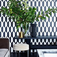 by marinasfakianaki Powder Room Wallpaper, Tile Wallpaper, Luxury Wallpaper, Geometric Wallpaper, Interior Styling, Interior Decorating, Interior Design, Monochrome Interior, Cole And Son