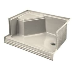 """View the Kohler K-9488 Memoirs 48"""" shower receptor with integral seat at left and right-hand drain at Build.com."""