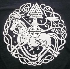 Odin Sleipnir Valknut Rune Norse Vikings Crew TShirt by TerraWear, $17.00