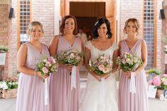Pretty soft lilac bridesmaids dresses | Paul and Ann's pretty barn wedding at Larchfield | www.onefabday.com