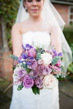 Such a beautiful colour palette for the bouquet LOVE A Rustic Winter Barn Wedding lavender bouquet