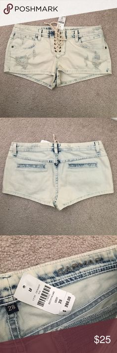 Carmar Acid wash Denim Lacey Shorts size 28 BNWT Any Questions please ask smoke free home button n zip lace up the front denim shorts Carmar Shorts Jean Shorts