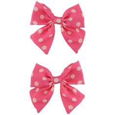 Polka Dot Bows Hair Clips ($2.50) ❤ liked on Polyvore