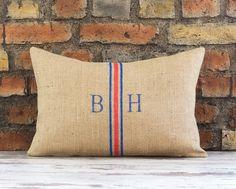 Burlap Initial Pillow Cover, Monogram Pillow, personalized pillow, family pillow, initials pillow, wedding gift, anniversary gift, for her by pillowmeRustic on Etsy https://www.etsy.com/listing/224563393/burlap-initial-pillow-cover-monogram