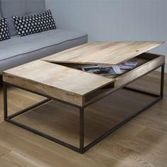 Table basse rectangulaire Guibox en bois et métal, avec plateau amovible pour créer une rallonge supplémentaire et caisson de rangement