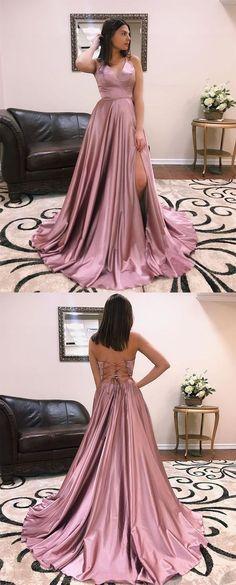 6ddecfa0c51b V-neck Long A-line Side Slit Dusty Pink Prom Dresses. Simple Formal DressesElegant  DressesDressy ...
