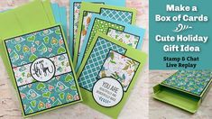 Make a Box of Card- Holiday Gift Idea- Stam- and Chat Replay Card Making Tips, Card Making Supplies, Card Making Tutorials, Video Tutorials, Fancy Fold Cards, Folded Cards, Origami Gifts, Scrapbook Paper Crafts, Scrapbooking