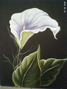 Solange Gama Coelho: Pintura em Tela,Tecido,Cursos-9196-6422(Claro),9854-3743(Tim)-Curitiba: Flor copo-de-leite